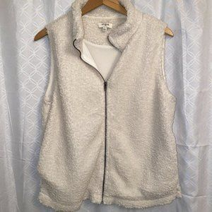 Umgee Sherpa zip up vest off white ivory women's L